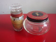 Pair of Vintage Glass Jars and Buttons