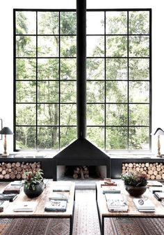 Symmetrical Fireplace - Scandinavian Interiors