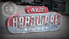 Vintage Industrial Ace Hardware Painted Steel Neon Lighted Sign Not Porcelain Ace Hardware Paint, Hardware Stores, Advertising Signs, Ads, Neon Light Signs, Neon Lighting, Vintage Industrial, Signage, Steel