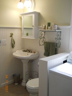Our new bath and laundry room. Completed Our new bath and laundry room. Upstairs Bathrooms, Downstairs Bathroom, Small Bathroom, Laundry Bathroom Combo, Laundry Room Design, Laundry Room Remodel, Laundry Rooms, Basement Laundry, Small Laundry