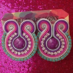 Soutache Earrings, Pastel Colors, Arts And Crafts, Jewelry Making, Jewellery, Embroidery, How To Make, Handmade, Instagram