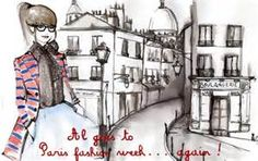paris girl stripes fashion illustration