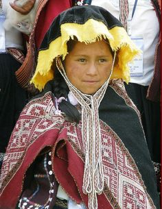 Peru. Repinned by Elizabeth VanBuskirk. A girl from a high village in the mountains above the Urubamba River (probably Chahuaytire or Acha Alta), Peru, wears a beautiful hand-woven manta over her shoulders. For more information about an Inca family and another village high above the Urubamba River, see the website incas.org
