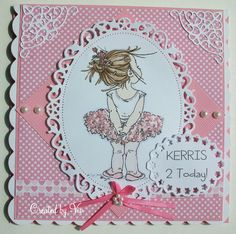 handmade birthday card from Viv's Visuals blog ... perfect card for a two year old girl!! ... all pink with cute print papers, ribbon and pearls ... fancy edged die cuts ... adorable Mo Manning image of tiny ballerina ... great card!!!