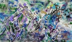 Triple Crown Galloping Race Horses Acrylic Painting by M Theresa Brown