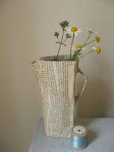 a bookish jug    papier mache jug with camomile flowers