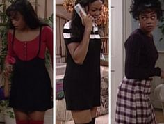 A series of outfits from Fresh Prince of Bel-Air. Ahsley Banks mainly wore above the knee skirts and slim minimal outfits -Sech Gire