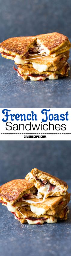 French Toast Sandwiches stuffed with mozzarella and bacon fried in a buttered pan. These are the shortcut to heaven! | giverecipe.com