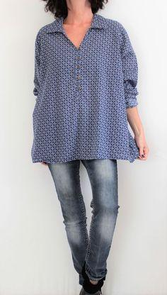 c8958a3e28 Woman Within Cotton L Sleeve Notch Neck Half Button Print Tunic Blue Sz 1X   WomanWithin