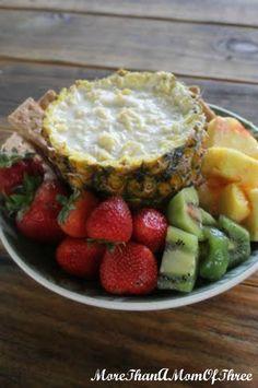 tropical pineapple dip. Fresh pineapple, yogurt, coconut, sweetener.