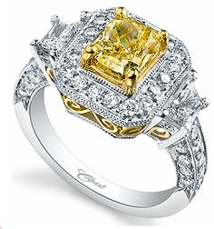 Noori 14k Gold 1ct TDW Canary Yellow Round Diamond Engagement Ring ...