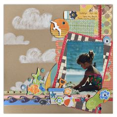 #papercraft #scrapbook #layout.  Katelyn at the Beach - Scrapbook.com - What a beautiful layout this is!