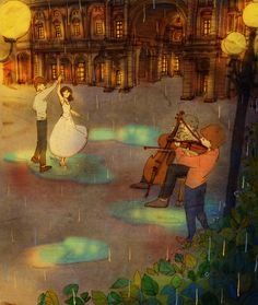 ♥  DANCING IN THE PIAZZA ~ I missed him so much I surprised him in the square where some street musicians were playing their violins and cellos. I pulled him out into the piazza and we swayed together in a dance   ♥  by Puuung at www.grafolio.com/works/177562  ♥