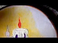 PINTURA EN TELA vela de nochebuena cuatro con cony - YouTube