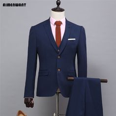 >> Click to Buy << AIMENWANT Tailored Jackets Cheap Formal Suits England Slim Fit Work Suit 3piece Navy Blue Blazer Stage Show Suits Custom Made  #Affiliate