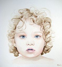 CUSTOM WATERCOLOR PORTRAIT of Your Child or Loved One in Watercolor - 8x10 inch Original Painting from your photograph reference. $125.00, via Etsy.