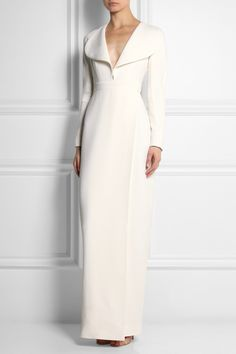 Emilia Wickstead | Wrap-effect white wool-crepe gown