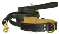 Dean & Tyler Bundle One Italian Tailor Collar Brown Padding 20 by 1-1/4 with One Matching Love To Walk Leash, 6-Feet Brass Snap Hook, Black Full grain leather. Nappa leather inside padding. Available in black and brown colors. Solid brass or stainless steel hardware. Durable construction and Nappa leather handle.  #Dean&Tyler #PetProducts