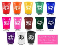 Custom Monogrammed Party Cups