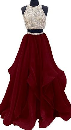 Two Piece Floor Length Burgundy Prom Dress Beaded Open Back Evening Gown #burgundy #puffy #twopieces #beading #okdresses