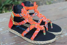 Isadora Womens Gladiator Sandals In Tangerine Hmong Embroidery