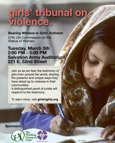 We have an amazing opportunity for 3 of our NMG members who live near or can travel to NYC to attend and report on Working Group on Girls Girls' Tribunal On Violence. Today is the LAST DAY to apply!