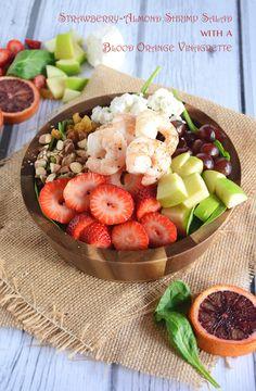 Strawberry-Almond Shrimp Salad with Blood Orange Vinaigrette - The Housewife in Training Files #salad #shrimp #paleo #fruitsalad #cheese #glutenfree #lowcarb