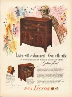 """1948 RCA VICTOR vintage magazine advertisement """"Listen with enchantment"""" ~ Listen with enchantment ... Own with pride ... an investment that pays daily dividends in musical beauty with the """"Golden Throat"""" - Richness of tone -- the famous """"Golden ..."""