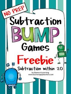 FREEBIES - Addition Bump Games from Games 4 Learning - These printable addition bump games are 2 player games that require only dice and counters to play. Subtraction Kindergarten, Subtraction Games, Addition Games, Math Addition, Addition Activities, Math Stations, Math Centers, Second Grade Math, Grade 1