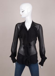 Black Cascade Ruffle Sheer Long Sleeve Silk Blouse