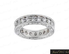 0.96Ct Diamond Antique Milgrain Eternity Wedding Band Ring Platinum G SI1