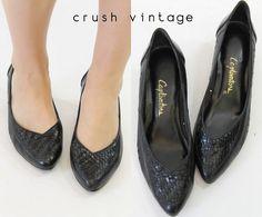 80s Black Weaved Heels / 1980s Captivations Pumps by CrushVintage, $34.00
