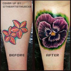 flower tattoo coverup. purple pansy flower tattoo, girl tattoos