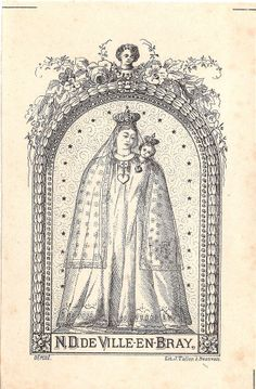 Antique French Holy Prayer Card Our Lady of Ville en Bray Mary  Baby Jesus