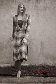 Ksenija Lukich by Kent Johnson for Braka Woman's Fashion - bold check vee neck dress, Fashion Branding and Marketing Photography on location Sydney, Australia.