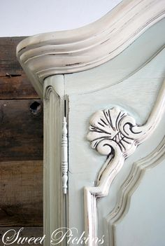 Gorgeous transfomation of 1970's ugly armoire to lovely painted, glazed piece.  From Sweet Pickins.