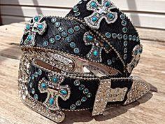 S M LG Women Western Rhinestone Black Hair Leather Turquoise Cross Belt Cowgirl