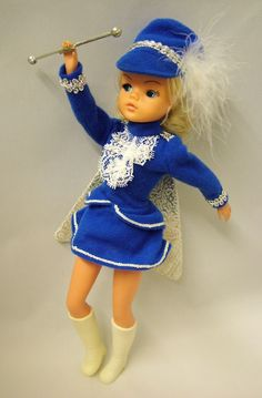 Majorette Sindy. I had this one. I must have wanted to do dressmaking as I horrified my mother by cutting the skirt even though I really loved her outfit. Still don't fully understand what was in my head.