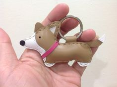 Leather Keychain  Luna the Corgi with pink collar by leatherprince, $23.90