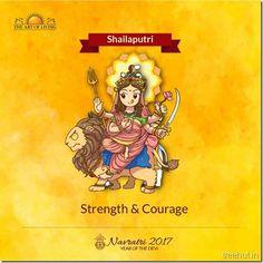 Shailaputri, First Form of Nav Durga , Navratri, The Art of Living Names Of Goddess Durga, Kali Goddess, Gods And Goddesses, Nav Durga Image, Durga Painting, Navratri Images, Durga Images, Happy Navratri, Durga Maa