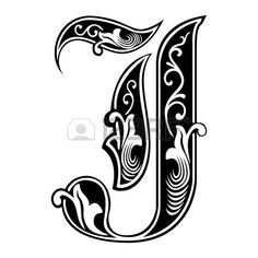 Beautiful decoration English alphabets Gothic style letter J Stock Vector