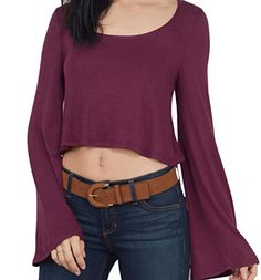 LD Womens Loose Solid Color Pagoda Sleeve T shirt Blouse Tops Wine Red L -- BEST VALUE BUY on Amazon