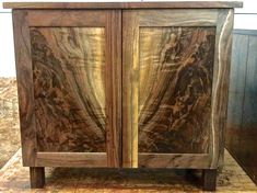 Custom Black Walnut cabinet with Book matched walnut panels in doors. In the shop and ready for delivery Handmade Furniture, Fine Furniture, Furniture Projects, Wood Furniture, Wood Projects, Furniture Design, Wood Wall Design, Wood Wall Art, Rustic Console Tables