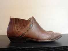 Vintage Brown Leather Country Western Ankle Boots by faroutofsight, $30.00
