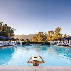 Ojai Valley Inn's new Indigo Pool is the epitome of California elegance. The newly remodeled pool at our luxury resort includes bar and dining service and offers 8 stylish poolside cabanas. Southern California Resorts, California Getaways, Ojai California, Resort Spa, Pool Bar, Vacations To Go, Vacation Spots, Best Resorts, Viajes