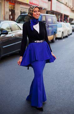Polished Peplum Skirt - Cobalt
