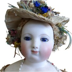 """Antique Bisque French Fashion EB Barrois Doll in Original Dress 21"""" from classicdolls on Ruby Lane"""