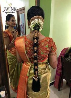 Pin by priya on blowse in 2019 blouse designs, indian bridal hairstyles, br Bridal Hairstyle Indian Wedding, South Indian Bride Hairstyle, Bridal Hair Buns, Indian Bridal Sarees, Bridal Hairdo, Bridal Silk Saree, Indian Wedding Hairstyles, Bridal Braids, Silk Sarees