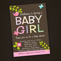 Girl Baby Shower Invitations Printable by PinkSkyPrintables, $12.00