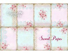 Sweet Paper - background - digital collage sheet - set of 8 - Printable Download. $4.35, via Etsy.